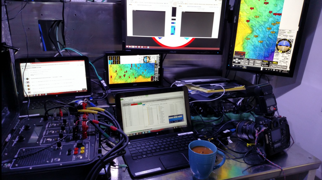 IV Communication station inside of the habitat, complete with a hot cup of tea!