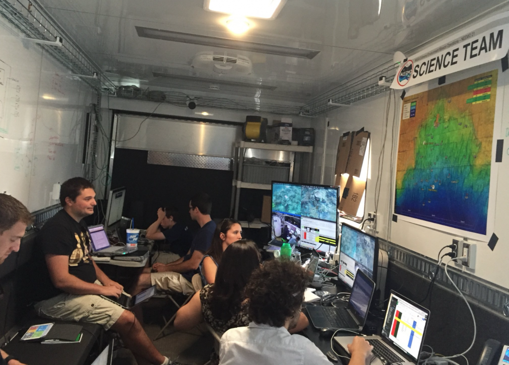 FIU Images Marine Science Team monitoring the coral exploration and sampling by the crew on EVA